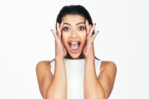 Woman with an expression of surprise