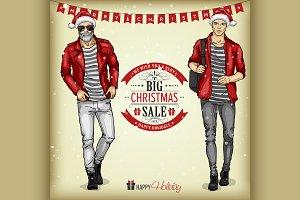 Man models with Santa hats