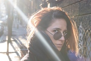 girl in sunny street