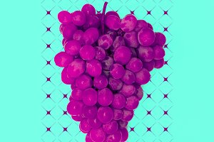 Grapes Minimal Design Flat Lay