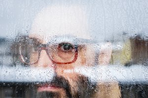 rainy window portrait