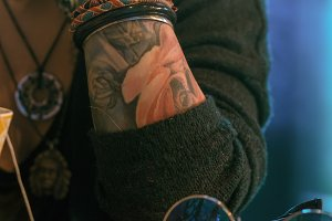 tattooed girl closeup