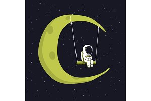 Cute astronaut sits on swing in space