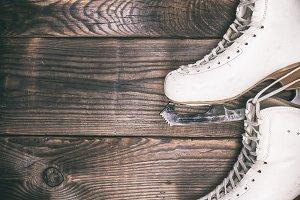 pair of white leather skates