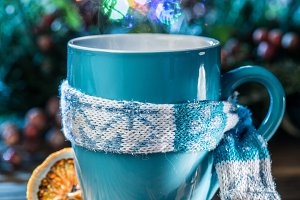 Cup with magic colorful lights