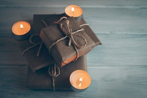 Christmas gift packages with rustic.