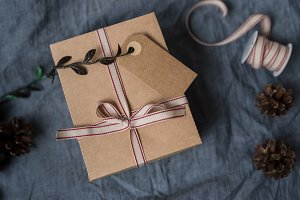 Christmas styled present stock photo