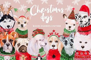Christmas Watercolor Dogs 2019