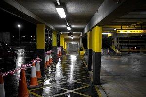 car park walkway at night