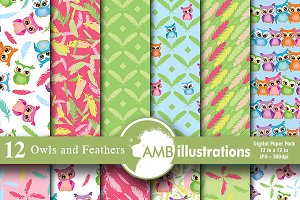 Digital Paper Owls, Feathers,AMB-453