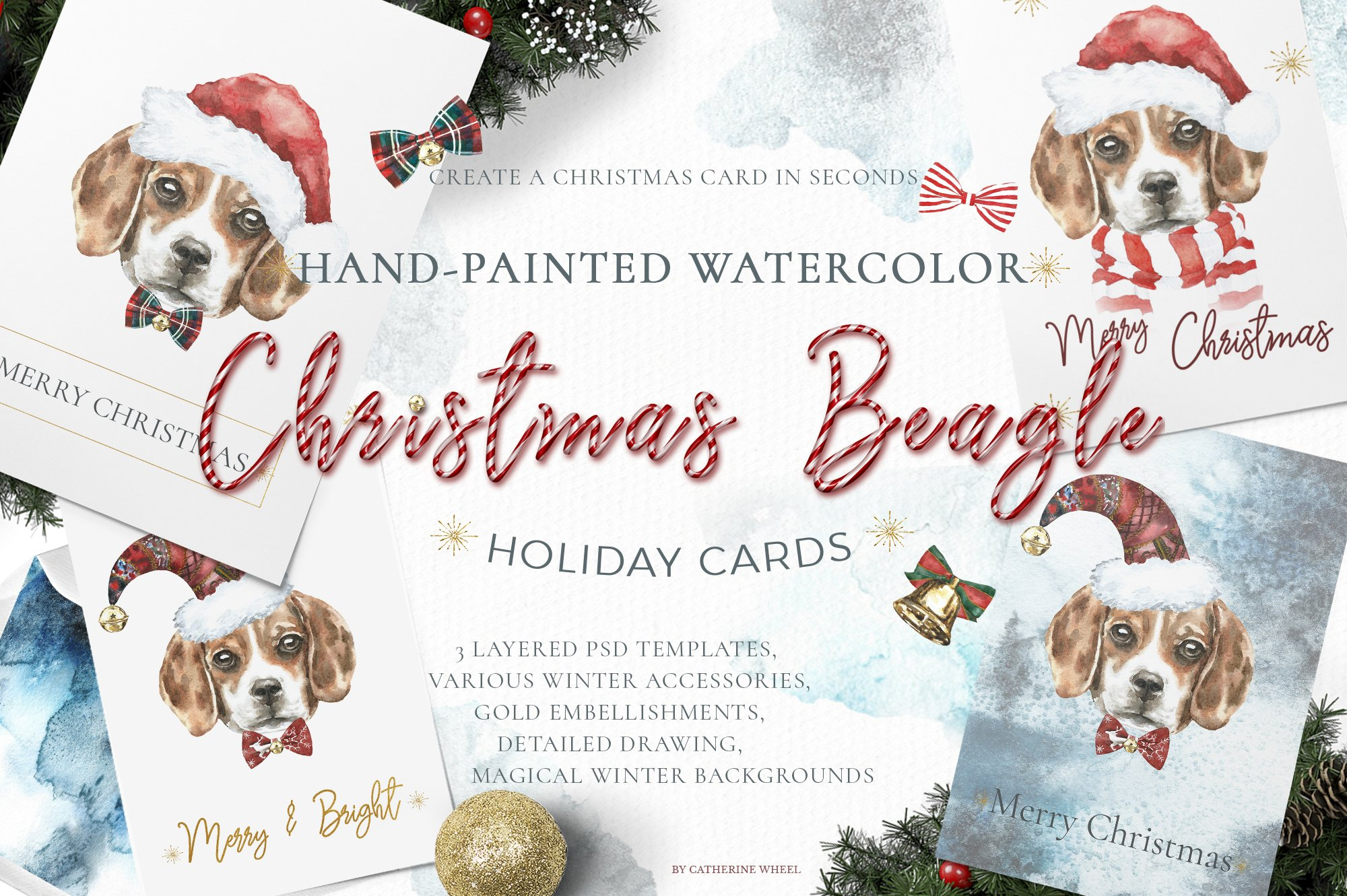 Christmas Watercolor Beagle Cards ~ Illustrations ~ Creative Market