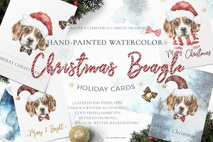 Christmas Watercolor Beagle Cards
