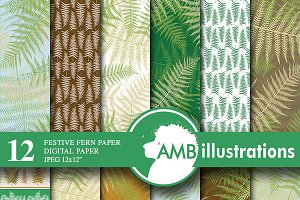 Fern patterned papers AMB-450