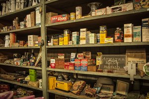 Vintage Products on Shelf