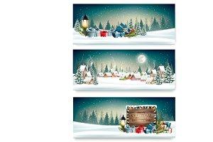 Three Holiday Christmas banners
