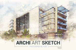 Archi Art Sketch Photoshop Action V2