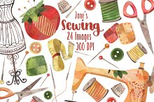 Watercolor Sewing Clipart