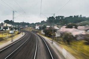 Turn left of two railway tracks