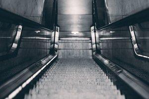 Centre view of descending escalator