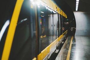 Subway train on the platform