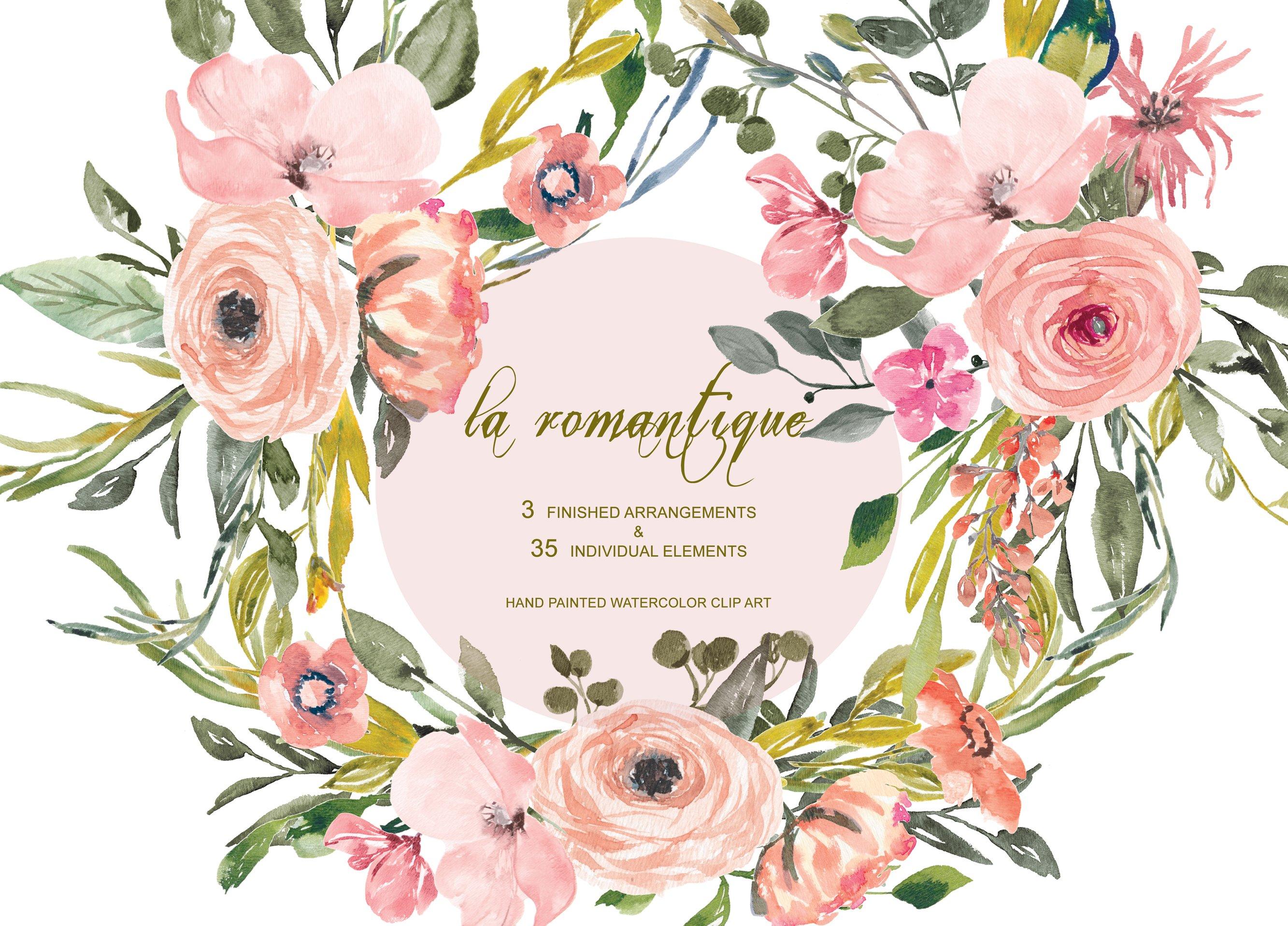 Watercolor Blush Flowers Set Illustrations Creative Market