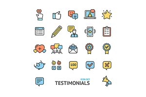 Testimonial, Feedback Review Icons
