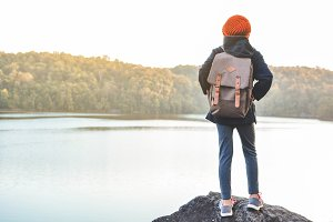 girl backpack in nature
