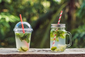 Zero waste concept Use a plastic glass or mason jar. Zero waste, green and conscious lifestyle concept. Reusable on the go drink container ideas