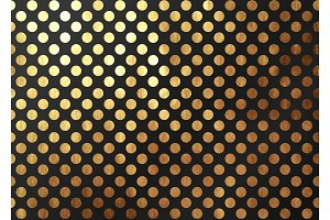 Abstract pattern texture gold circles. Vector golden and black background