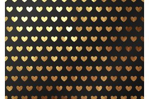 Abstract pattern texture gold heart. Vector golden and black background