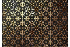 Winter pattern texture gold snowflake. Vector golden and black background