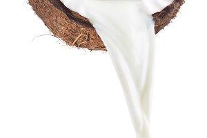 Coconut milk pouring.