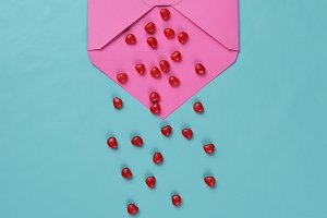 Pink Envelpoe with Red Candy Hearts