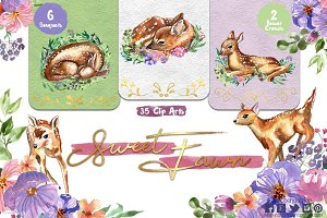 Sweet Fawns watercolor clipart- deer
