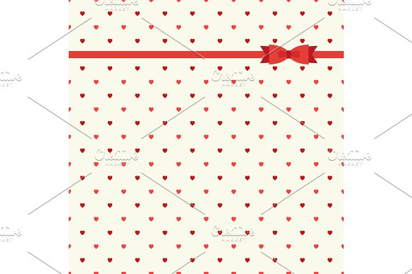 Cute primitive retro pattern with ribbon and bow on small hearts background