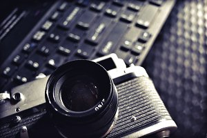 Vintage Camera on Laptop