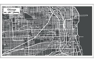 Chicago Illinois USA Map in Retro