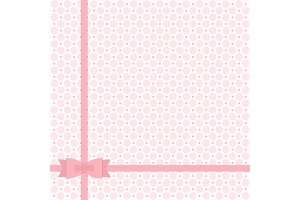Cute primitive retro pattern with ribbon and bow in shabby chic style for your decoration