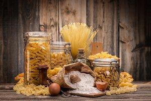 Still life of italian pasta