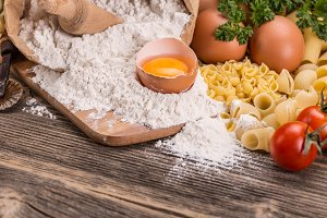 Close up of pasta ingredients