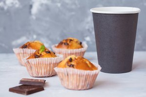 Coffee break with chocolate muffins