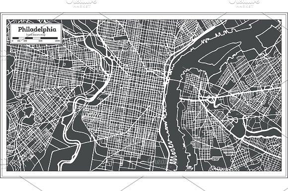 Philadelphia Pennsylvania Usa Map Illustrations Creative Market