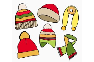 Winter hat, scarves
