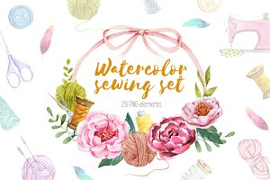 Watercolor sewing set