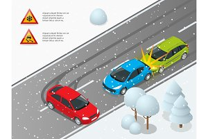 Isometric winter slippery road, car accident. The car rides on a slippery road. Urban transport. Can be used for advertisement, infographics, game or mobile apps icon.