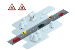 Slippery, ice, winter, snow road and cars. Caution Snow. Winter Driving and road safety. Urban transport.