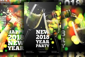 New Year 2018 party posters set