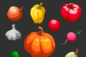 Farmers Vegetables Icons Set