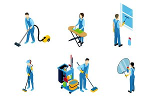Cleaners Isometric Icons Set