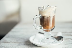 Glass with irish coffee